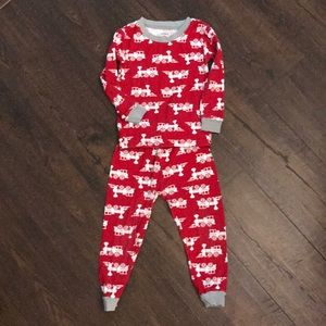 Carters red train pajama set